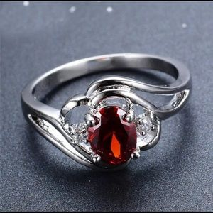 BRAND NEW.925 SILVER RUBY/WHITE SAPPHIRE OVAL CUT
